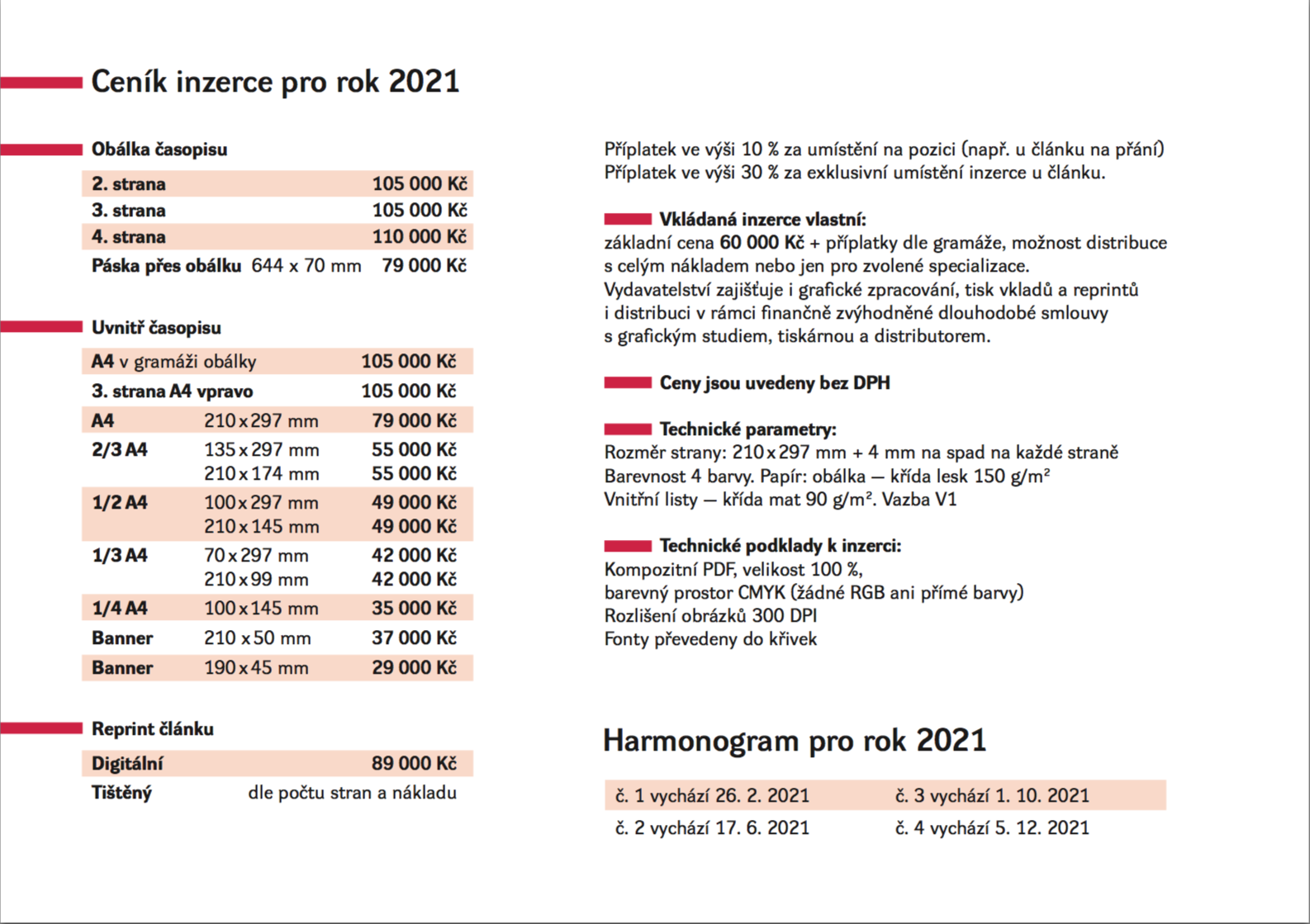 CS 2021 ceník